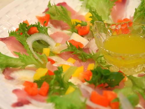 白身魚のカルパッチョ完成