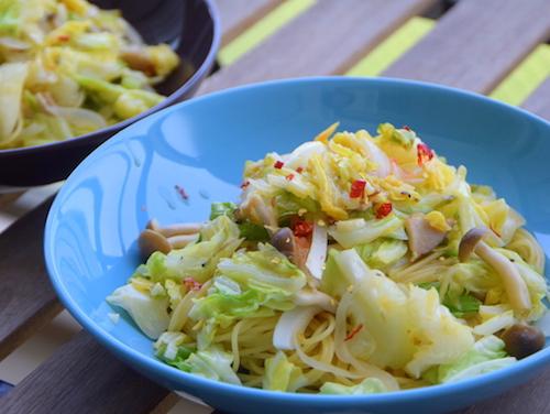 春キャベツの野菜たっぷりパスタ完成