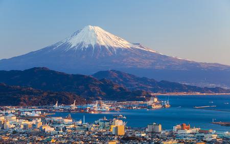 49056115 - mountain fuji and seaport at shizuoka prefecture