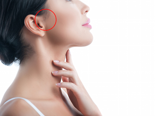 I like making skincare treatment. Attractive young woman is applying moisturizer on her neck. Isolated and copy space in right side