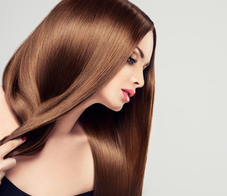 43422930 - girl model beauty with shiny long brown straight hair
