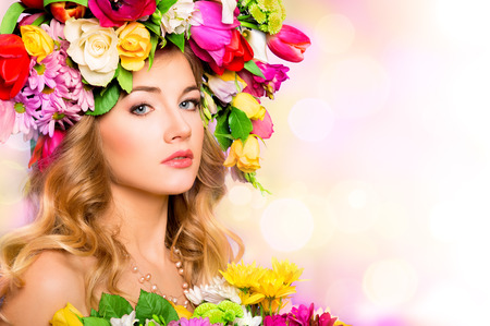 37398449 - spring woman beauty portrait with flowers hairstyle