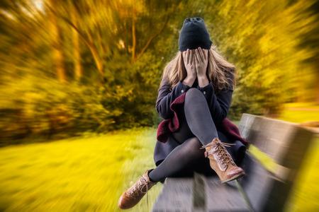 45884272 - depressed female in autumn season