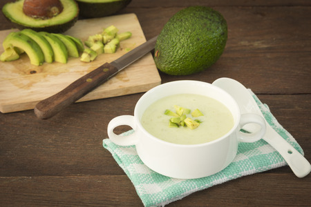50003063 - cream avocado soup with fresh avocado, healthy dietary.