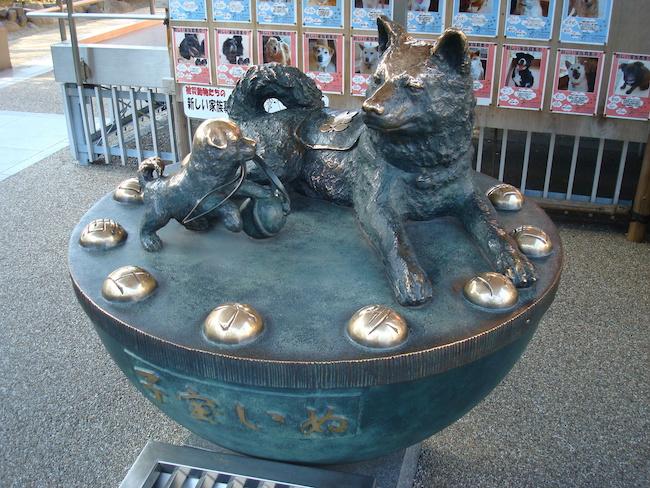 中央区の水天宮にある子宝いぬの像