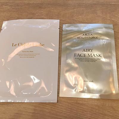アクシージア「ルシエルドローブ」のオーロラフェイスマスクと、「ビューティーフォース」エアリーフェイスマスク